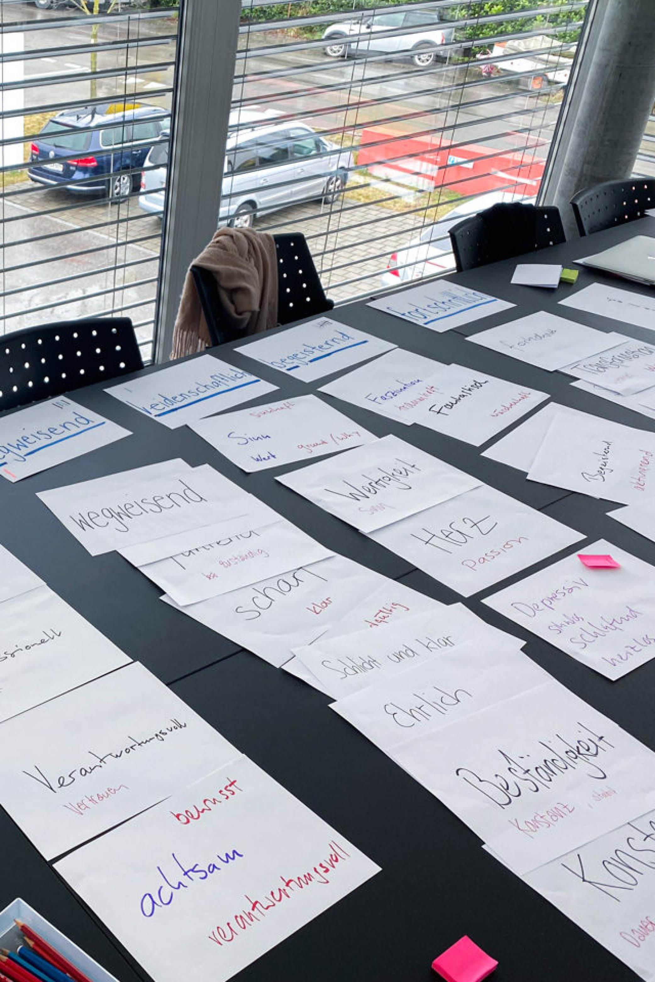 Auslage auf dem Tisch mit Papieren eines Workshops